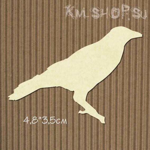 Чипборд Птица №5 Ворона маленькая
