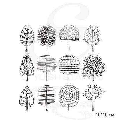 Штамп Нарисованные карандашом деревья